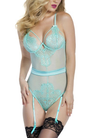 Carol Mint Eyelash Lace Garter Sheer Teddy
