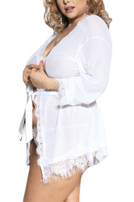 Carol White Sheer Eyelash Lace Kimono Lingerie   PLUS
