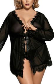 卡罗尔黑色纯粹蕾丝和服内衣大尺码