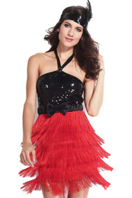 Red Fringe Black Sequin Can Can 20s Flapper Costume