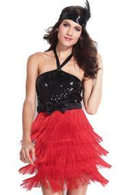 红色边缘黑色亮片可以20s插板服装