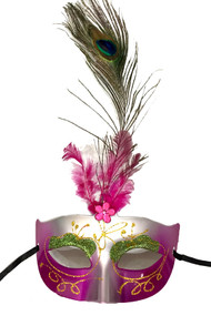 Purple Silver Peacock Marabou Feather Masquerade Mask
