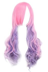 粉色和薰衣草奥伯尔角色扮演长波浪假发与侧面邦邦