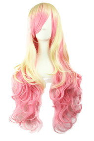 Blonde Pink  Ombre Cosplay Long Wavy Wig with Side Bangs
