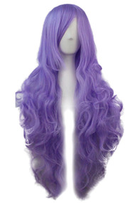 Lavender Long Wavy Curly Wig with Long Side bangs