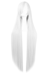 White Extra Long Straight Center Parting Wig 39.5""
