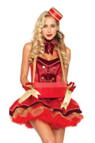 Red Satin  Vintage Cigarette Girl Costume