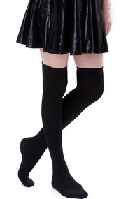 Plain Black Poly Knit Over the Knee Socks