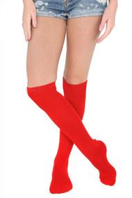 平原红色多针织在膝盖袜子
