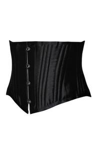 Black Luxe Satin 26 Steel Boned Waist Corset
