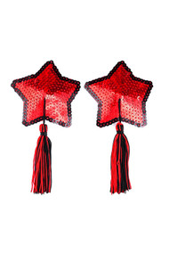 Red Star Sequin Black Tassel Reusable Adhesive Burlesque Nipple Pasties