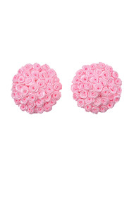 Pink Rosettes Round Satin Burlesque Reusable Nipple Pasties