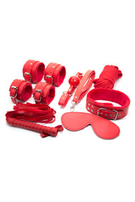 Red Faux Leather Fur Lined 11 piece Beginner's Bondage Kit