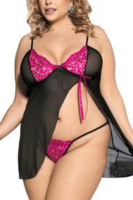 Rosie Pink Black Open Front Babydoll Plus Size