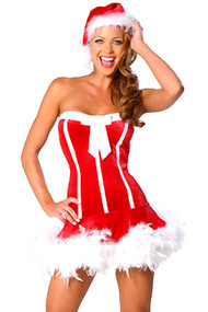 Sexy Sweet Feather Santa Babe Costume