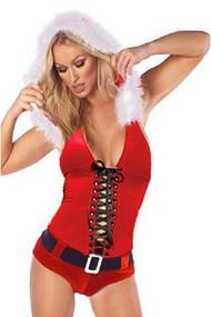 Red Velvet Santa Baby Romper Costume