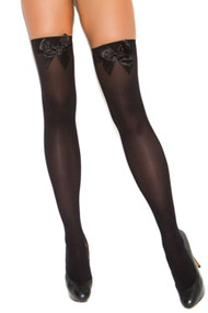 Black Opaque Stockings with Bow