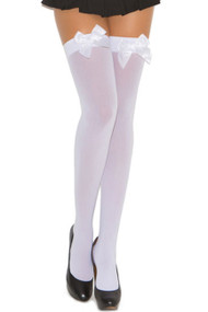 White Opaque Stockings with Bow