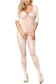White Fishnet Paisley Long Sleeves Full Body Stockings
