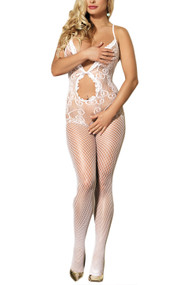 White Fishnet Keyhole Halter Full Body Stockings