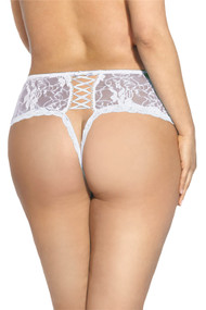 White Lace-up Open Crotch Thong PLUS