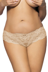 Beige Floral Lace Cheeky Panty PLUS