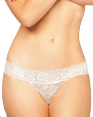 White Lace Seduction Low Rise Thong Panty Plus Size