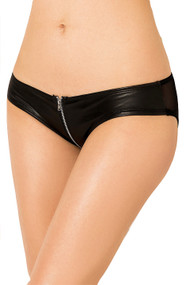 Black Faux Leather Vinyl Zipper Panty