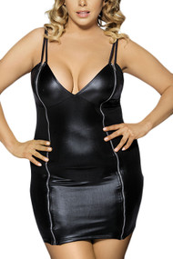 Black Faux Leather Dress Plus Size