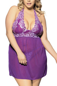 Purple Ada Embroidered Halter Lace Babydoll Plus Size