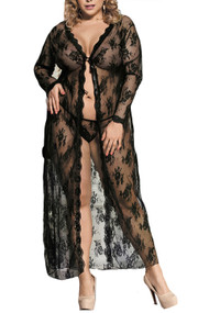 Diva Black Lace Open Front Long Night Gown Lingerie Plus Size