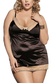 Velma Chocolate Satin Lace Chemise Plus Size