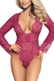 Liz Wine Long Sleeve Eyelash Glam Teddy