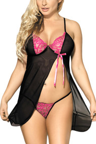 Rosie Pink Black Open Front Babydoll