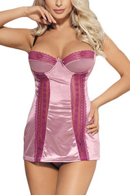 Cora Pink Lace and Satin Chemise Plus Size