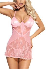 Cassie Lace Baby Pink Lace Chemise