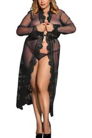 拉娜黑色纯粹花边长袍加大小