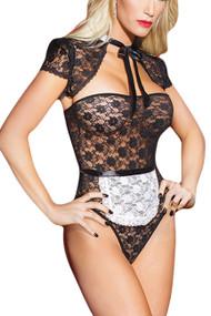 齐塔法国女佣黑色蕾丝泰迪