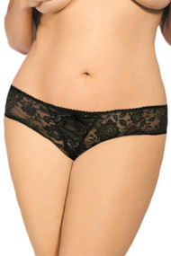 Black May Lace up Floral Lace Crotchless Panty - Plus Size