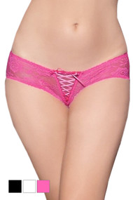 Pink May Lace up Floral Lace Crotchless Panty