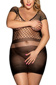 Black Knit  Bodystocking Mini Dress Plus Size