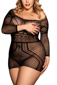 Cropped Sleeve Body Stocking Dress Plus Size