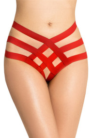 Red Bailey Caged Strappy Garter  Panty Plus Size