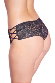 Black Liza Criss Cross Side Lace Cheeky Panty