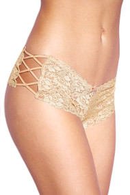 Beige Liza Criss Cross Side Lace Cheeky Panty