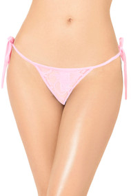 Pink Lace Brazilian Side Tie G String Panty