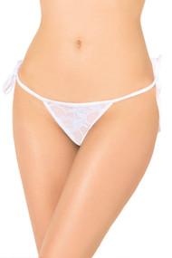 白色蕾丝巴西边领带G字符串内裤
