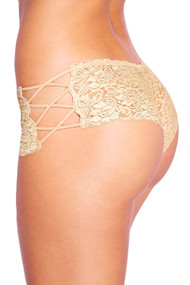 Beige Liza Criss Cross Side Lace Cheeky Panty Plus Size