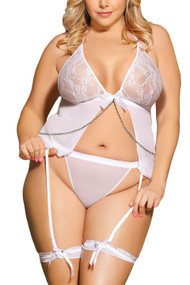 White Sheer Open Front Garter Babydoll Plus Size