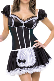Sheer Zip U Front French Maid Costume